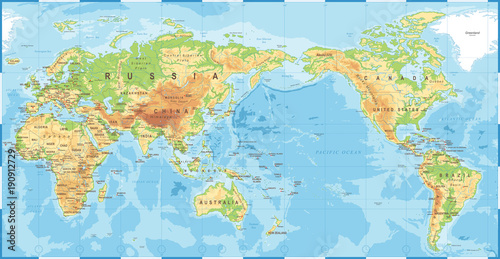 Political physical topographic colored world map pacific centered political physical topographic colored world map pacific centered gumiabroncs Choice Image