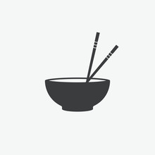 Chopsticks & Bowl Vector Icon