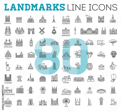 Simple linear Vector icon set representing global tourist landmarks and travel d Canvas Print