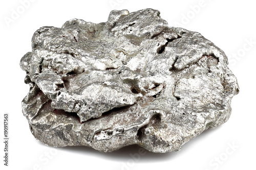 native silver nugget from Liberia isolated on white background Tableau sur Toile