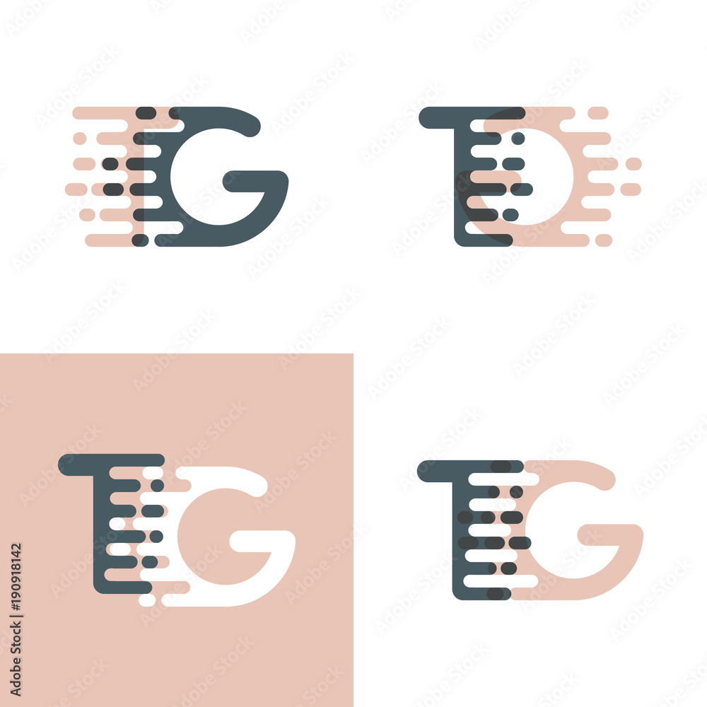 Tg Letters Logo With Accent Speed Pink And Gray Foto Poster