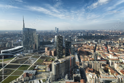 Recess Fitting Milan Milan skyline and view of Porta Nuova business district in Italy