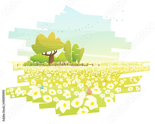 Spoed Foto op Canvas Wit Beautiful landscape background , vector , illustration