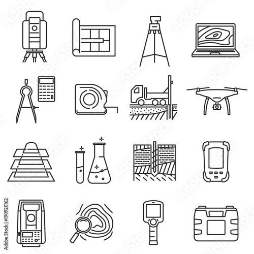 Stampe  Geodetic line art survey