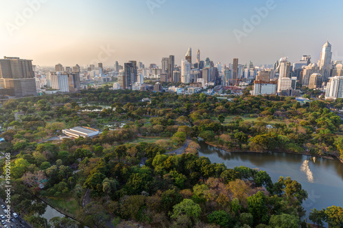Scenic view of the Lumpini (Lumphini) Park and Bangkok city in Thailand from above.