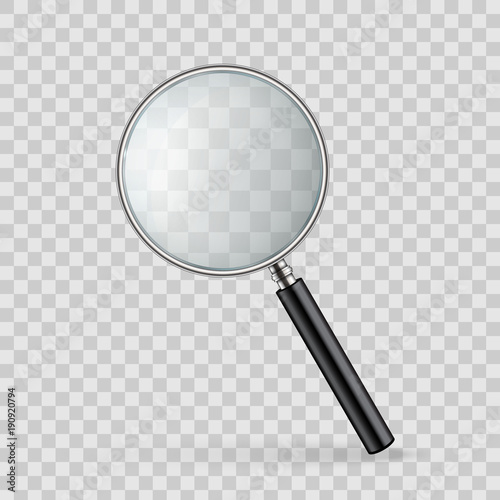 Creative vector illustration of realistic magnifying glass isolated on transparent background Canvas Print