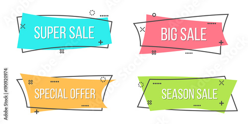 Obraz Creative vector illustration of promotion ribbon banner isolated on transparent background. Art design flat linear badge. Abstract concept scroll, price tag, sticker, sale poster graphic element - fototapety do salonu