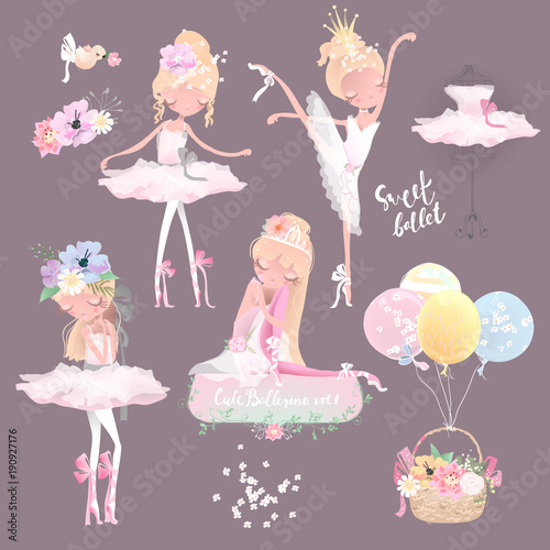 Fotografie, Tablou  Beautiful ballet girl, ballerina in crown with flowers, floral wreath, bouquet,