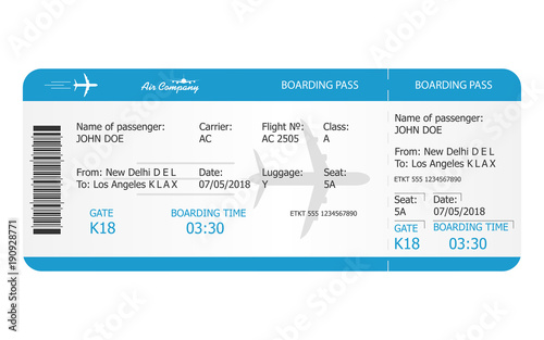 Boarding pass ticket template Fototapet