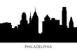 Philadelphia skyline and landmarks silhouette. USA, Pennsylvania. Black and white design isolated. Vector illustration.