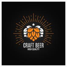 Beer Hops Logo On Black Background