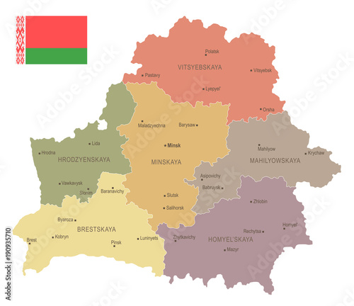 Fototapeta Belarus - vintage map and flag - Detailed Vector Illustration