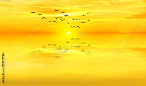 Fotobehang Zwavel geel dorado atardecer sobre el mar en calma