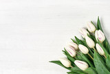 Fototapeta Tulipany - White tulips bouquet on white wooden background. Copy space, top view