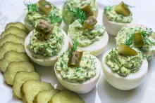 Deviled Eggs With Greens And P...