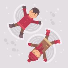 Boy And Girl Making Snow Angels. Winter Kids Flat Illustration