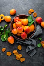 Fresh Apricots With Leaves And...