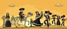 Skeleton Mexican Costumes Danc...