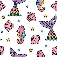 Mermaid And Seahorse Pastel Ra...
