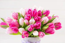 Pink Tulip On The White Backgr...