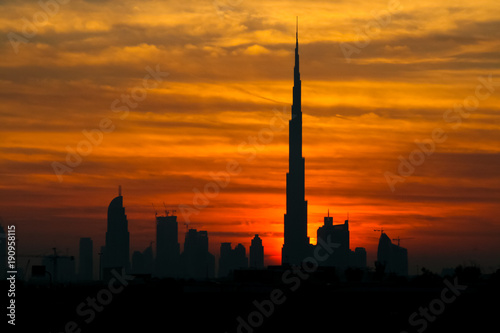 In de dag Zwavel geel Dubai Sunset