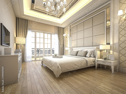 Photographie  3d rendering modern luxury classic bedroom with marble decor