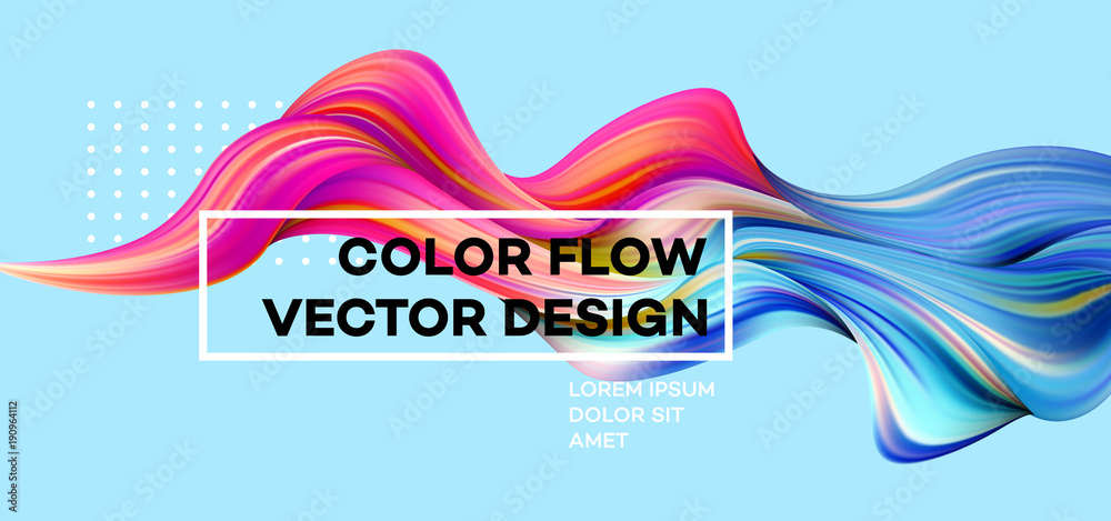 Fototapety, obrazy: Modern colorful flow poster. Wave Liquid shape in blue color background. Art design for your design project. Vector illustration