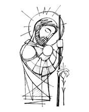 Saint Joseph And Baby Jesus Ink Illustration