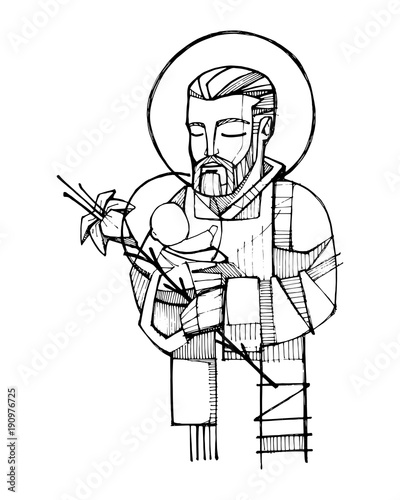 Fotomural Saint Joseph and baby Jesus ink illustration