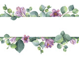 Fototapeta Kwiaty - Watercolor vector wreath with green eucalyptus leaves, purple flowers and branches.