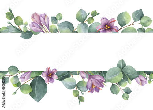 watercolor vector wreath with green eucalyptus leaves purple flowers and branches kaufen sie