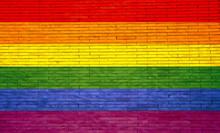 Gay Flag Painted On A Brick Wa...
