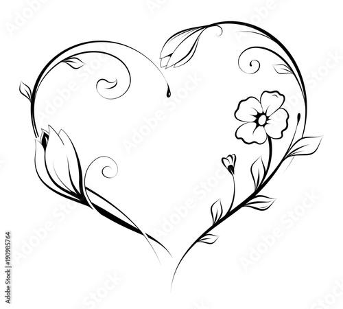 Fototapeta Floral heart shape design obraz