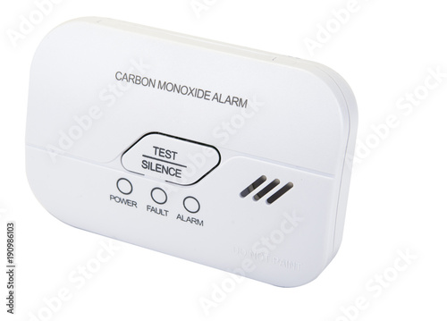 Fényképezés Carbon monoxide alarm for safe sleep on white