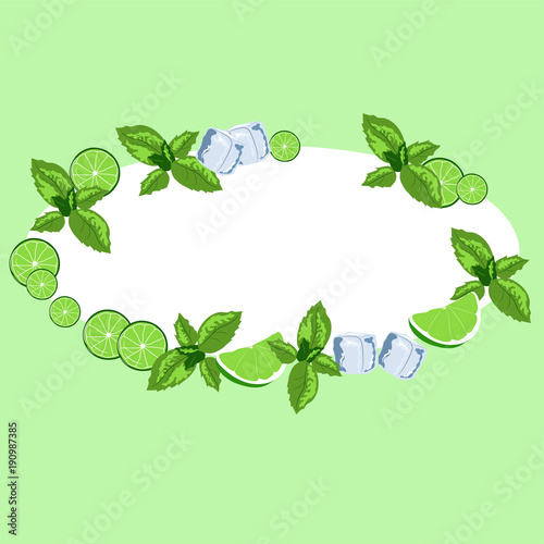 Wall Murals Floral Frame oval mojito. Ingredients for the drink, decoration.