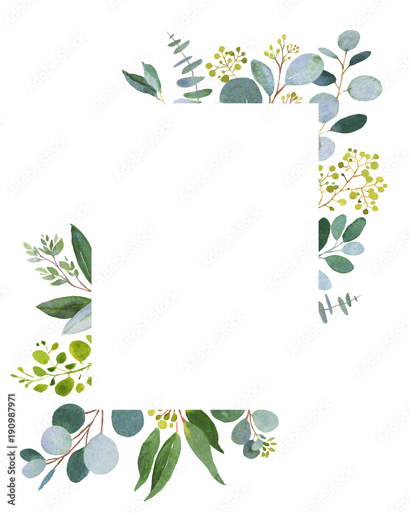 Fototapety, obrazy: Wedding greenery template. Watercolor illustration with eucalyptus.
