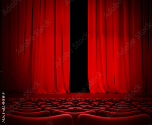 In de dag Theater Open theater red curtain on stage 3d illustration