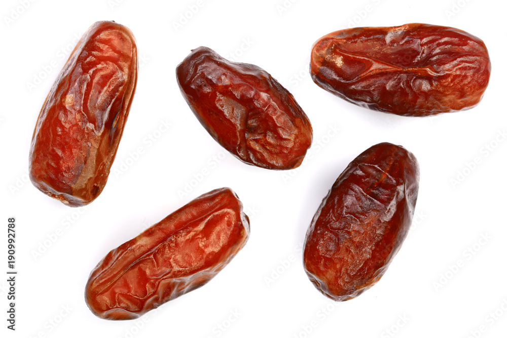 Fototapety, obrazy: dry dates isolated on white background. Top view. Flat lay pattern