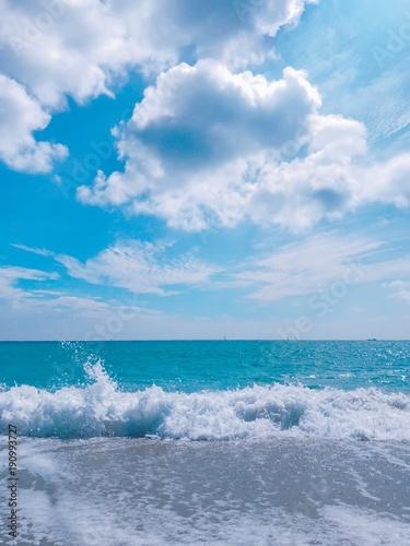 Fotobehang Midden Oosten 海, 海, 空, 水, 浜, 青, 自然, 雲, 雲, サマータイム, 地平線, 波, 波, 風景, 砂, 惰性で進む, 海景, トロピカル, アイランズ, 旅行, 美しさ, サーフ, 白, 上機嫌の