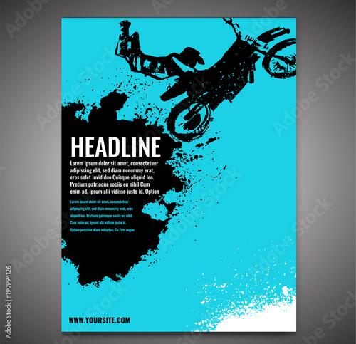 In de dag Groene koraal Motorcycle Flying Poster