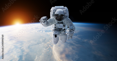 Montage in der Fensternische Nasa Astronaut floating in space 3D rendering elements of this image furnished by NASA