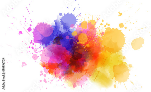 Photo  Multicolored splash watercolor blot