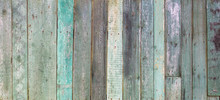 Vintage Shabby Turquoise Weathered Painted Wood Texture As Banner Background