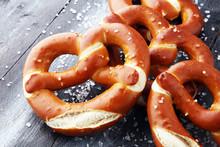 German Pretzels With Salt Clos...