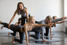 Young Female Yoga Instructor Teaching Bird Dog Pose, Knee To Forehead Curl Exercise For A Group Of Sporty People Practicing In Studio, Working Out Indoor, Teacher Helping To Master, Full Length Image