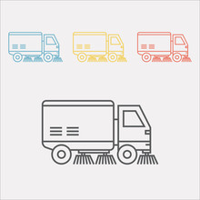 Street Sweeper Truck Line Icon