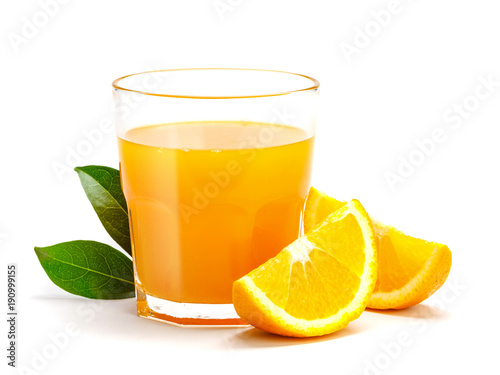 Staande foto Sap Glass of fresh orange juice isolate on white background, Fresh fruits Orange juice in glass with group of orange on white
