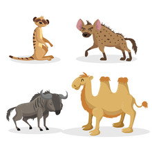Cartoon Trendy Style African Animals Set. Hyena, Wildebeest, Meerkat And Bactrian Camel . Closed Eyes And Cheerful Mascots. Vector Wildlife Illustrations.