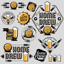 Set Of Vector Home Brew Beer E...