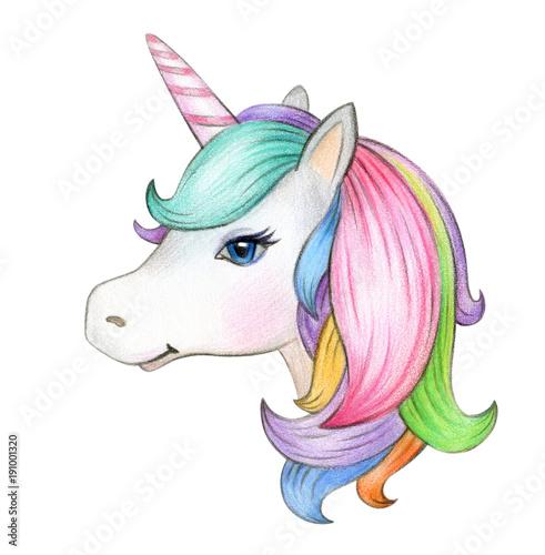 Cute, magic unicorn portrait, isolated on white.